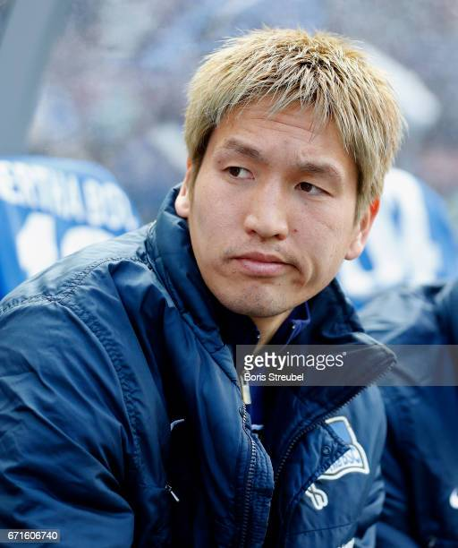 Genki Haraguchi of Hertha BSC looks on prior to the Bundesliga match between Hertha BSC and VfL Wolfsburg at Olympiastadion on April 22 2017 in...