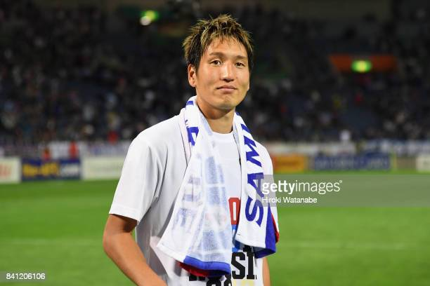 Genki Haraguchi of Japan applauds supporters after his side's 20 victory and qualified for the FIFA World Cup Russia after the FIFA World Cup...