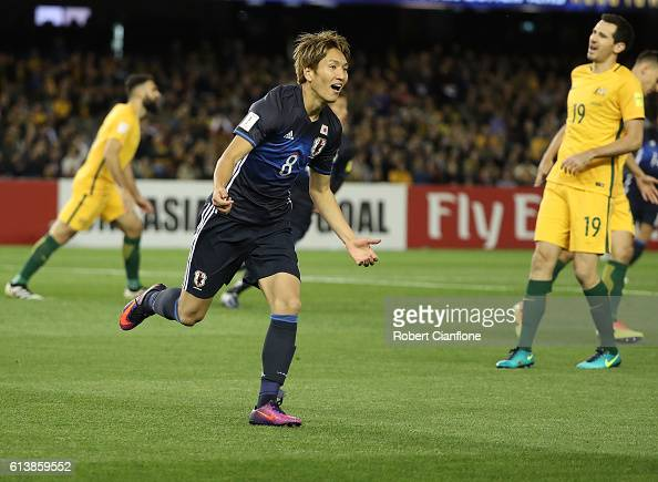 Genki Haraguchi of Japan celebrates after scoring a goal during the 2018 FIFA World Cup Qualifier match between the Australian Socceroos and Japan at...