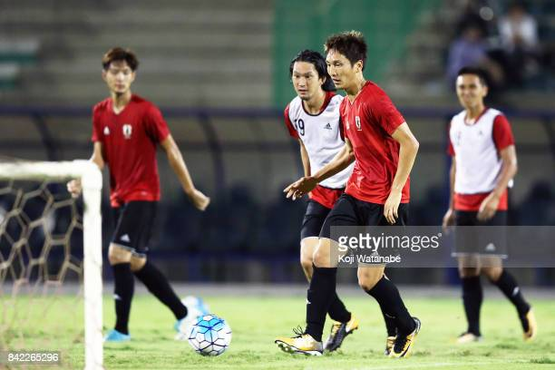 Genki Haraguchi of Japan in action during a training session ahead of the FIFA World Cup qualifier against Saudi Arabia at AlAhli Saudi Sports Club...