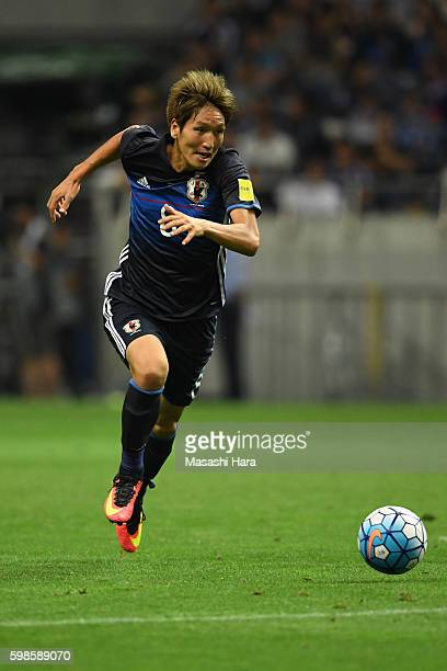 Genki Haraguchi of Japan in action during the 2018 FIFA World Cup Qualifiers Group B match between Japan and United Arab Emirates at Saitama Stadium...