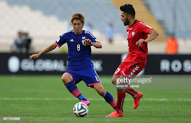 Genki Haraguchi of Japan in action during the 2018 FIFA World Cup Russia qualifier match between Afghanistan and Japan at Azadi Stadium on September...