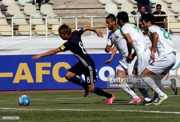 Genki Haraguchi of Japan in action during the 2018 FIFA World Cup Asian Qualifying group B football match between Iraq and Japan at Shahid Dastgerdi...