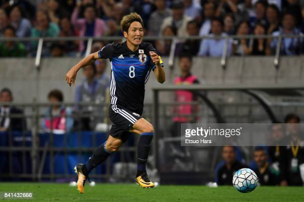 Genki Haraguchi of Japan in action during the FIFA World Cup Qualifier match between Japan and Australia at Saitama Stadium on August 31 2017 in...