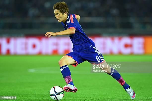 Genki Haraguchi of Japan in action during the international friendly match between Japan and Iraq at Nissan Stadium on June 11 2015 in Yokohama Japan