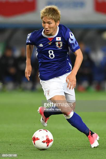 Genki Haraguchi of Japan in action during the international friendly match between Japan and Syria at Tokyo Stadium on June 7 2017 in Chofu Tokyo...