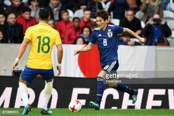 Genki Haraguchi of Japan in action during the international friendly match between Brazil and Japan at Stade PierreMauroy on November 10 2017 in...