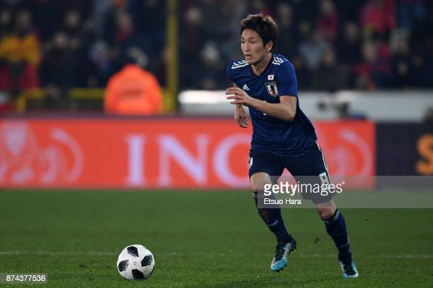 Genki Haraguchi of Japan in action during the international friendly match between Belgium and Japan at Jan Breydel Stadium on November 14 2017 in...