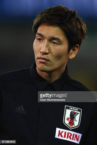 Genki Haraguchi of Japan lines up for the national anthem prior to the international friendly match between Belgium and Japan held at Jan Breydel...
