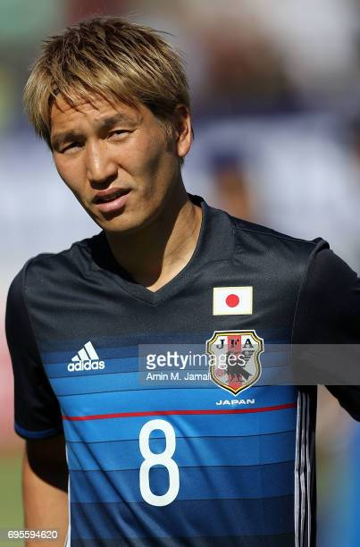 Genki Haraguchi of Japan looks on during the FIFA World Cup Russia Asian Final Qualifier match between Iraq and Japan at PAS Stadium on June 13 2017...