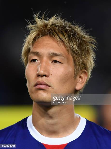Genki Haraguchi of Japan looks on prior to the international friendly match between Japan and Syria at Tokyo Stadium on June 7 2017 in Chofu Tokyo...