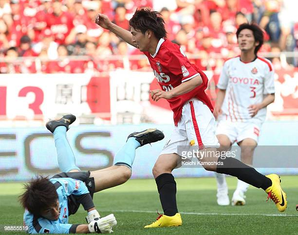 Genki Haraguchi of Urawa Red Diamonds celebrates after scoring his goal during the J League match between Urawa Red Diamonds and Nagoya Grampus at...