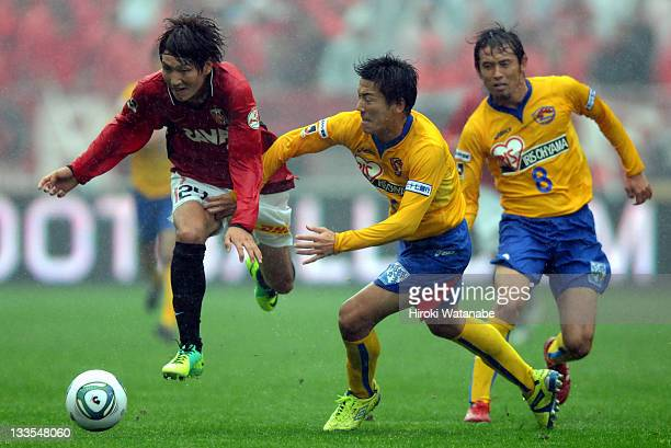 Genki Haraguchi of Urawa Red Diamonds in action during the JLeague match between Urawa Red Diamonds and Vegalta Sendai at Saitama Stadium on November...