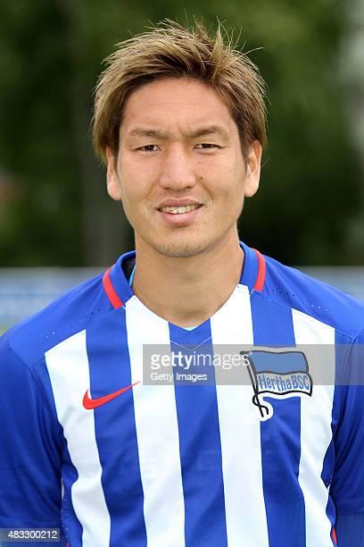 Genki Haraguchi poses during the Hertha BSC team presentation on July 10 2015 in Berlin Germany
