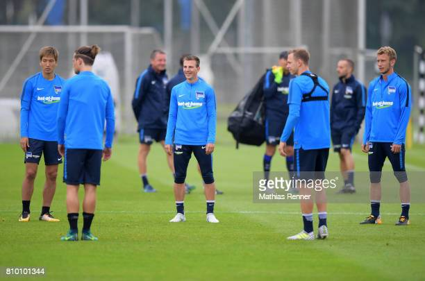 Genki Haraguchi Vladimir Darida and Fabian Lustenberger of Hertha BSC during the training on july 7 2017 in Berlin Germany