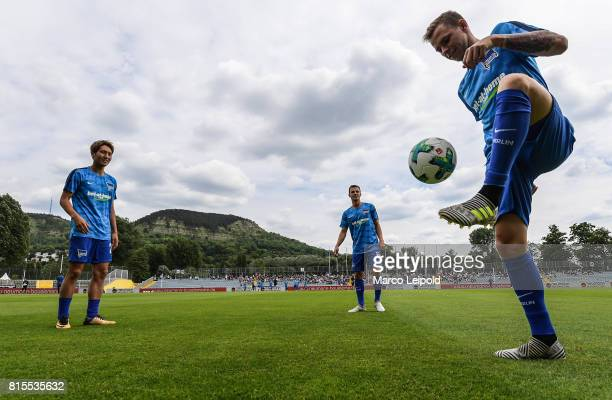 Genki Haraguchi Vladimir Darida and Ondrej Duda of Hertha BSC before the test match between CarlZeiss Jena and Hertha BSC on july 16 2017 in Jena...