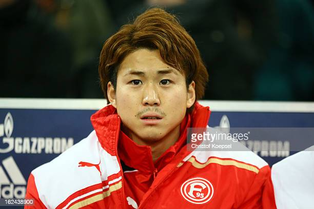 Genki Omae of Duesseldorf looks on prior to the Bundesliga match between FC Schalke 04 and Fortuna Duesseldorf at VeltinsArena on February 23 2013 in...
