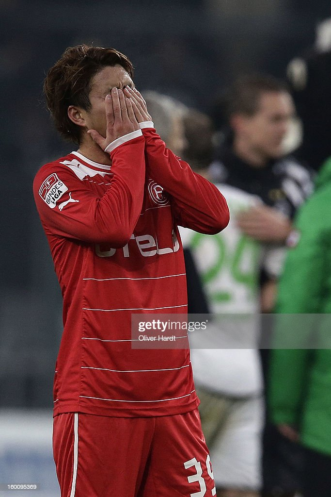 <a gi-track='captionPersonalityLinkClicked' href=/galleries/search?phrase=Genki+Omae&family=editorial&specificpeople=7538222 ng-click='$event.stopPropagation()'>Genki Omae</a> of Duesseldorf reacts after the Bundesliga match between VfL Borussia Moenchengladbach v Fortuna Duesseldorf at Borussia Park Stadium on January 26, 2013 in Moenchengladbach, Germany.