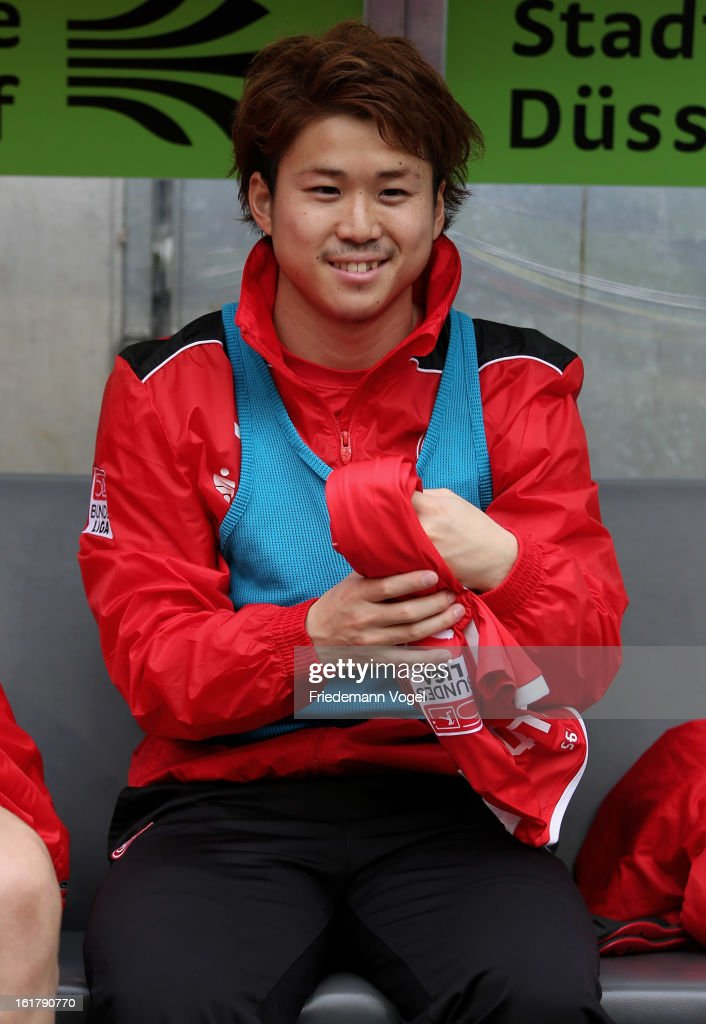 Genki Omae of Duesseldorf sits on the substitutes during the Bundesliga match between Fortuna Duesseldorf 1895 and SpVgg Greuther Fuerth at Esprit-Arena on February 16, 2013 in Duesseldorf, Germany.