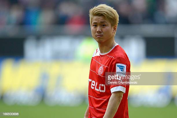 Genki Omae of Fortuna Duesseldof looks on during the Bundesliga match between Fortuna Duesseldorf 1895 and SV Werder Bremen at EspritArena on April...