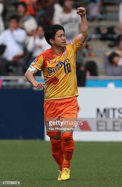 Genki Omae of Shimizu SPulse celebrates scoring his team's first goal during the JLeague match between Shimizu SPulse and Sagan Tosu at IAI Stadium...