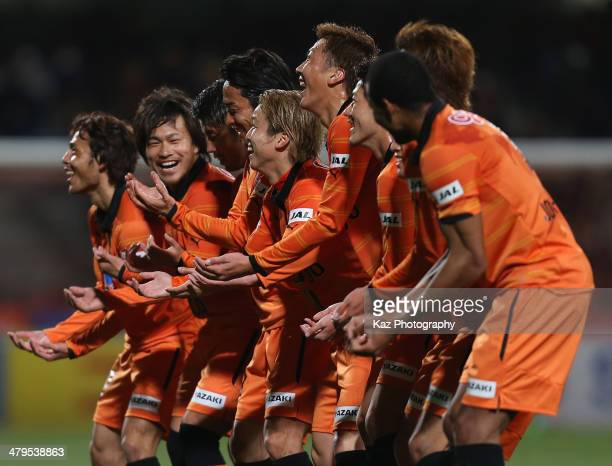 Genki Omae of Shimizu SPulse celebrates scoring his team's second goal with his teammate Yosuke Kawai during the JLeague Yamazaki Nabisco Cup match...