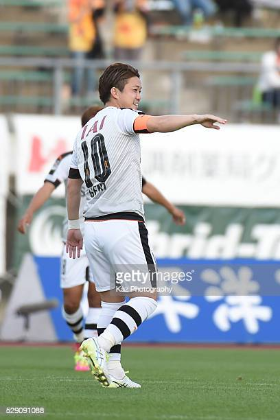 Genki Omae of Shimizu SPulse celebrates the opener during the JLeague second division match between FC Gifu and Shimizu SPulse at the Nagaragawa...