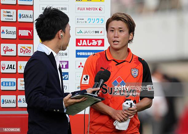 Genki Omae of Shimizu SPulse is interviewed after the JLeague match between Shimizu SPulse and Ventforet Kofu at IAI Stadium Nihondaira on September...