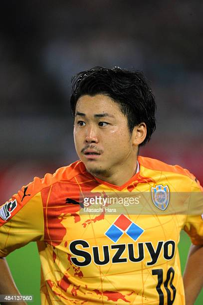 Genki Omae of Shimizu SPulse looks on prior to the JLeague match between Yokohama FMarinos and Shimizu SPulse at Nissan Stadium on July 29 2015 in...