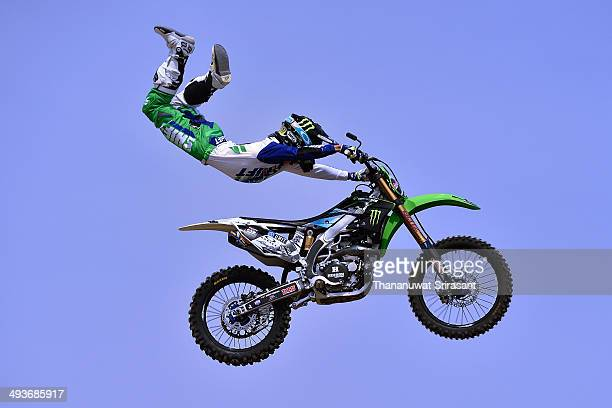 Genki Watanabe of Japan with Kawasaki KX450F competes during qualifying for the Red Bull XFighters World Tour on May 24 2014 in Osaka Japan