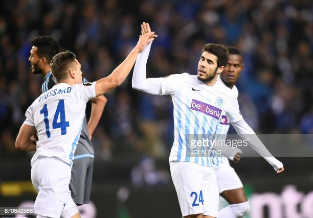 Genk's forward Leandro Trossard celebrates after scoring during the UEFA Europa League quarter final second leg football match KRC Genk against Celta...