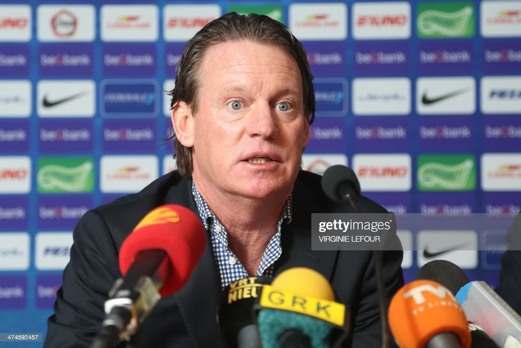 Genk's head coach Mario Been gives a press conference on February 24, 2014 of Genk first division soccer club, after they announced the end of the contract with their head coach after the fifth game lost in their stadium, in Genk.