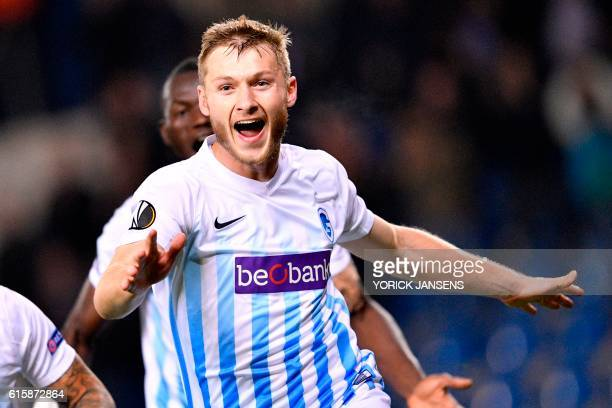 Genk's Jakub Brabec celebrates after scoring during the Europa league group football match between RC Genk and Athletic Bilbao in Genk on October 20...