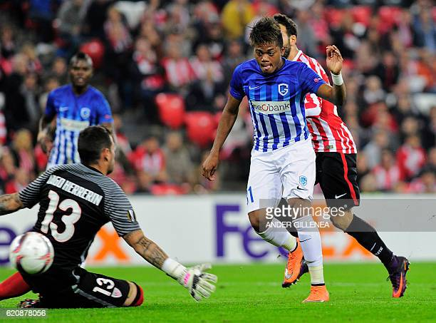 Genk's Jamaican midfielder Leon Bailey shoots to score during the Europa League Group F football match Athletic Club de Bilbao vs KRC Genk at the San...