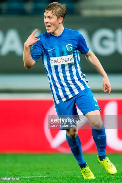 Genk's Jere Uronen celebrates after scoring a goal during the UEFA Europa League round of 16 football match between KAA Gent and KRC Genk in Gent on...