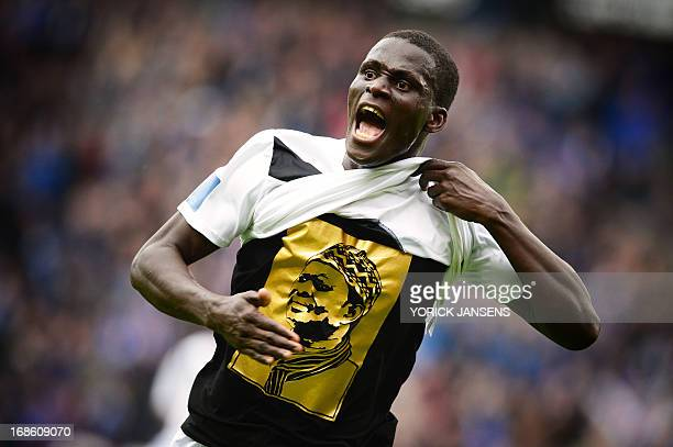 Genk's Kara Mbodj celebrates after scoring the 11 goal during the Belgian Jupiler Pro League football match between RC Genk and RSCA Anderlecht on...