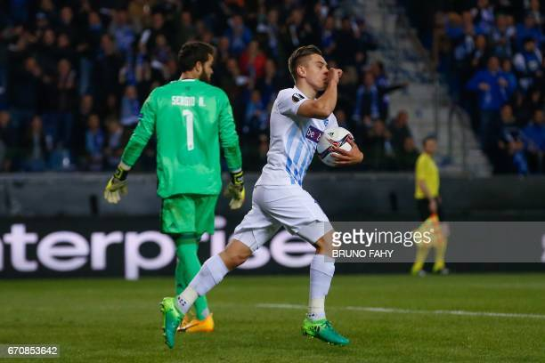 Genk's Leandro Trossard celebrates after scoring during the UEFA Europa League quarter final second leg football match KRC Genk against Celta Vigo at...