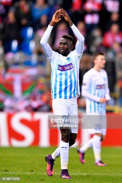 Genk's Nigerian defender Onyinye Wilfred Ndidi celebrates after scoring during the Europa league group football match between RC Genk and Athletic...