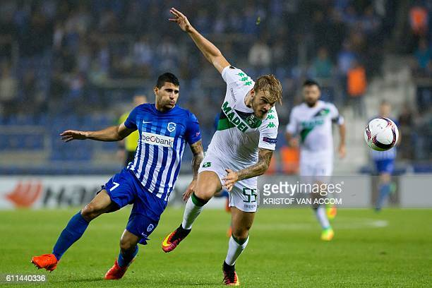 Genk's Nikolaos Karelis and Sassuolo's Timo Letschert vie for the ball during the Europa League match KRC Genk and Sassuolo Calcio on the second day...