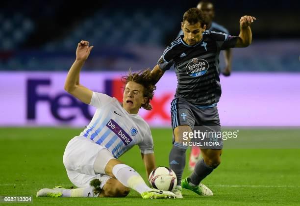 Genk's Norwegian midfielder Sander Berge vies with Celta Vigo's defender Jonny Castro during the UEFA Europa League quarter final 1st leg football...