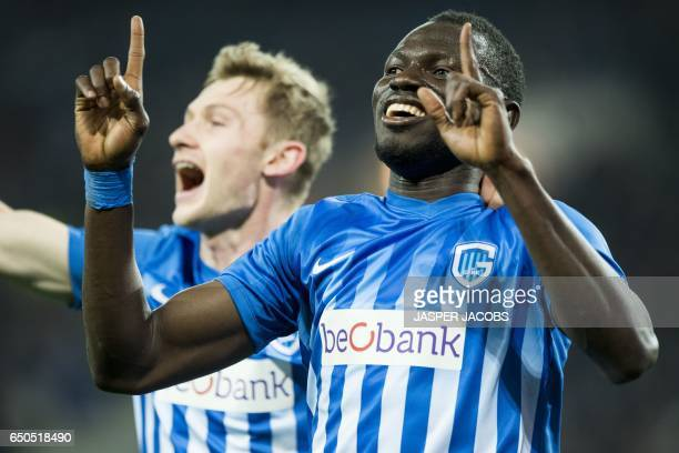 Genk's Omar Colley celebrates after scoring a goal during the UEFA Europa League round of 16 football match between KAA Gent and KRC Genk in Gent on...