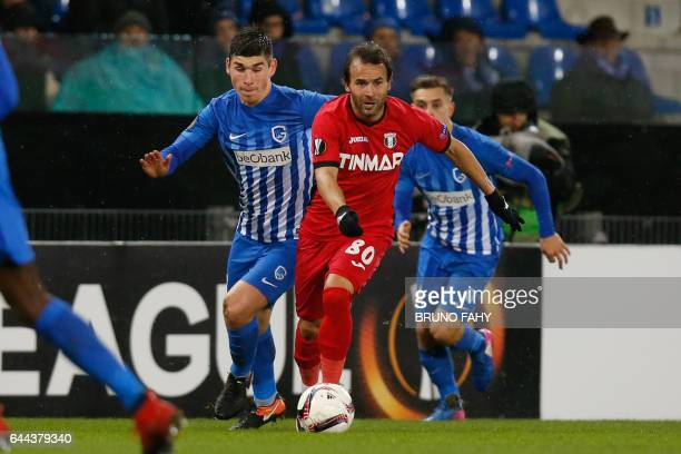 Genk's Ruslan Malinovsky and Astra Giurgiu's Filipe Teixeira fight for the ball during the Europa League football game between RC Genk and Astra...