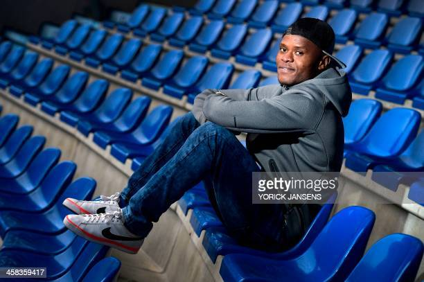 KRC Genk's Tanzanian new forward Mwbana Ally Samatta poses after a press conference during his presentation to the press on January 29 2016 in Genk /...