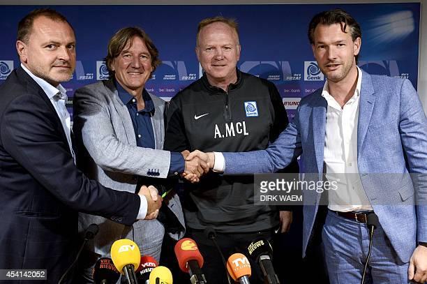 Genk's technical director Gunther Jacob Genk's new general director Patrick Janssens Genk's new head coach Alexander Alex McLeish and Genk's chairman...