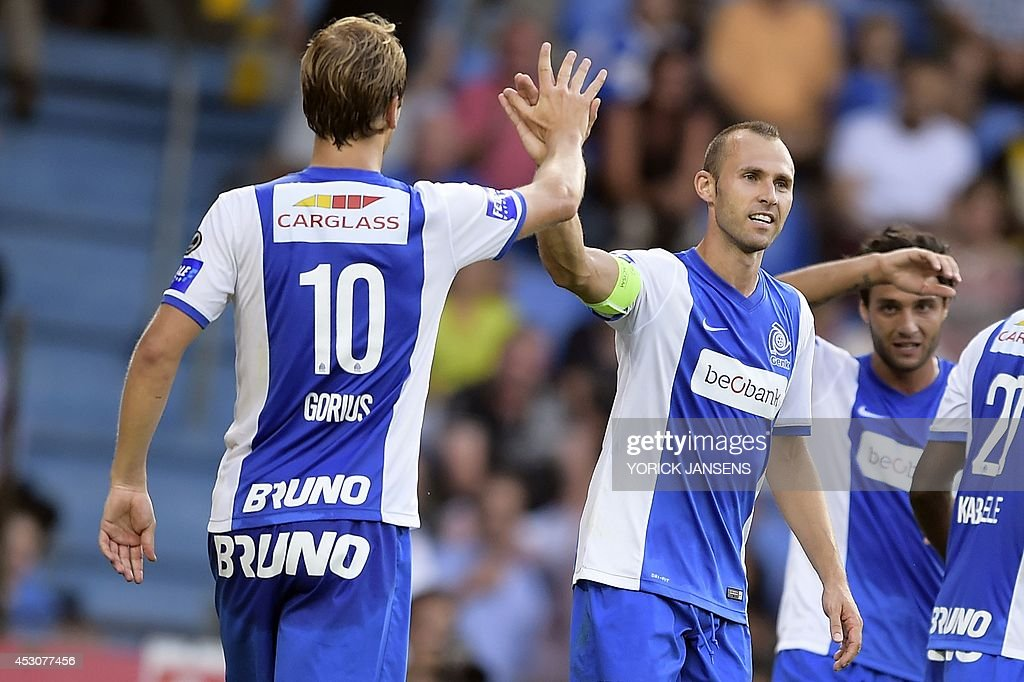 Genk's Thomas Buffel celebrates after scoring during the Jupiler Pro League match between KRC Genk and Cercle Brugge KSV, in Genk, on August 2, 2014, on day 2 of the Belgian football championship.