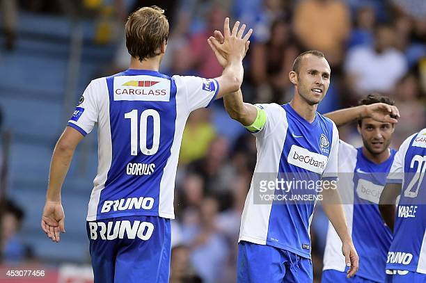 Genk's Thomas Buffel celebrates after scoring during the Jupiler Pro League match between KRC Genk and Cercle Brugge KSV in Genk on August 2 on day 2...