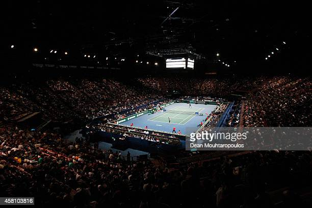 A genmeral view as Andy Murray of Great Britain plays against Grigor Dimitrov of Bulgaria during day 4 of the BNP Paribas Masters held at the at...