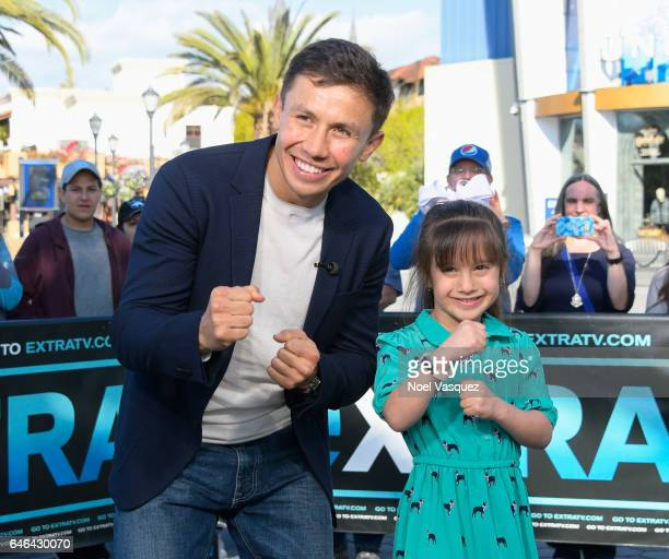 Gennady Golovkin and Gia Lopez visit 'Extra' at Universal Studios Hollywood on February 28 2017 in Universal City California