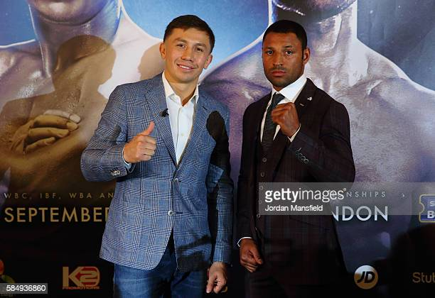 Gennady Golovkin and Kell Brook pose for a photo during the press conference ahead of the fight between Gennady Golovkin and Kell Brook at the...