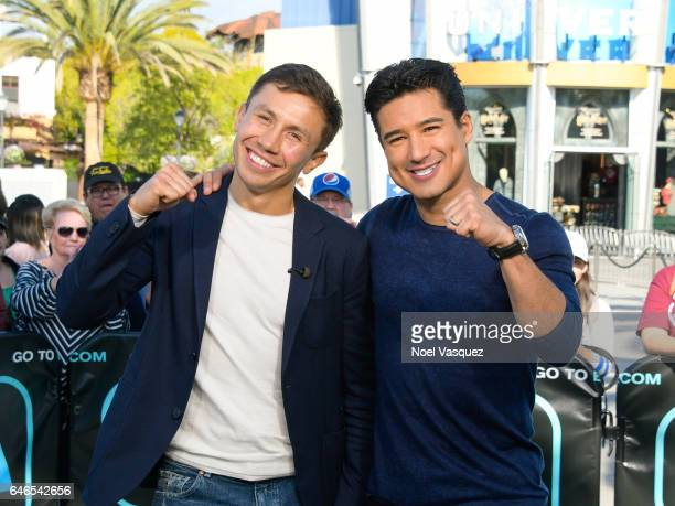 Gennady Golovkin and Mario Lopez visit 'Extra' at Universal Studios Hollywood on February 28 2017 in Universal City California